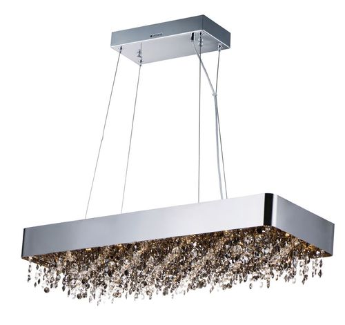 """Mystic 12"""" Wide 22 Light Linear Pendant using PCB Integrated LED Bulbs in Polished Chrome"""