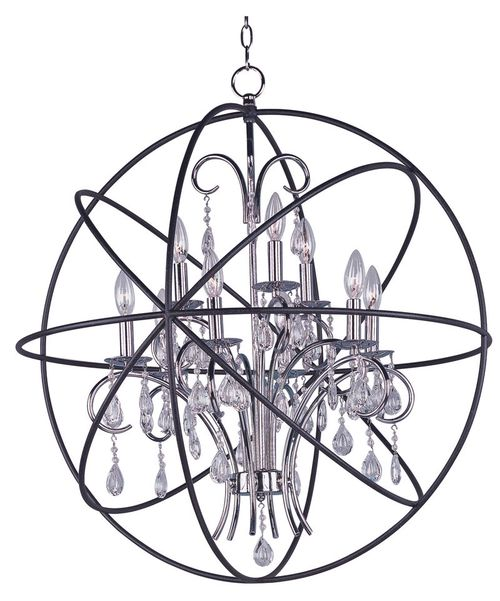 "Orbit 30"" 9-Light Single-Tier Chandelier - Anthracite / Polished Nickel"