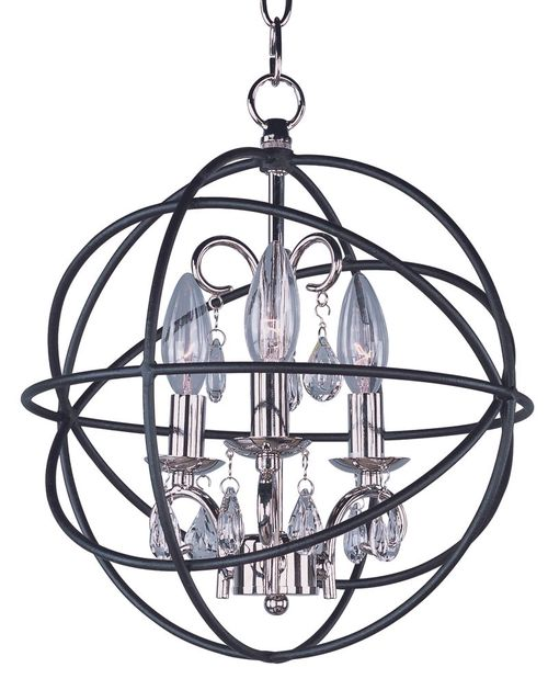 "Orbit 12"" 3-Light Single-Tier Chandelier - Anthracite / Polished Nickel"