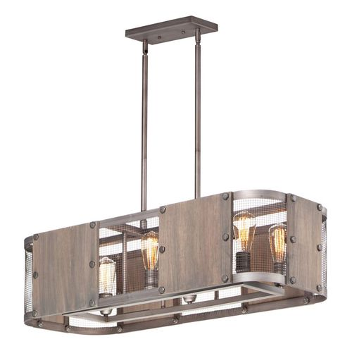"""Outland 15"""" Wide 6 Light Pendant System using E26 Medium Incandescent Bulbs in Barn Wood / Weathered Zinc"""