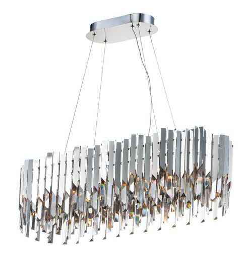 """Paramount 36"""" Wide 12 Light Linear Pendant using GU10 LED Bulbs in Polished Chrome"""