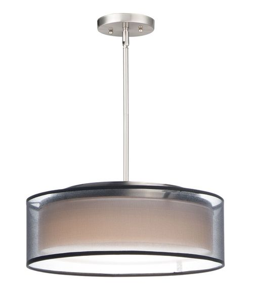 """Prime 16"""" x 6.5"""" Satin Nickel Single Pendant with 3 Lights - (Steel material) - 783209212640"""