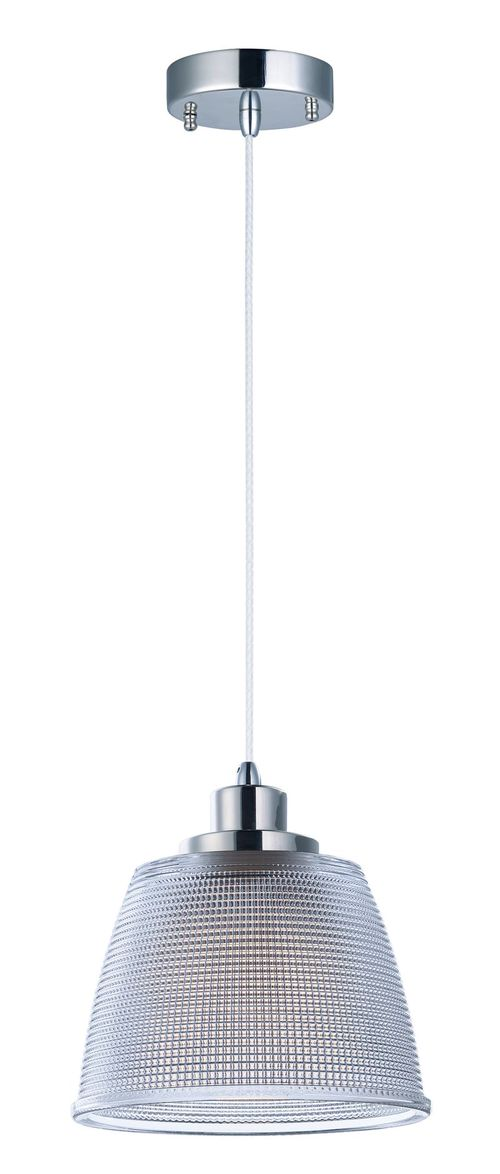 """Retro 6.5"""" Wide 1 Light Single Pendant using AC Integrated LED Bulbs in Polished Nickel"""