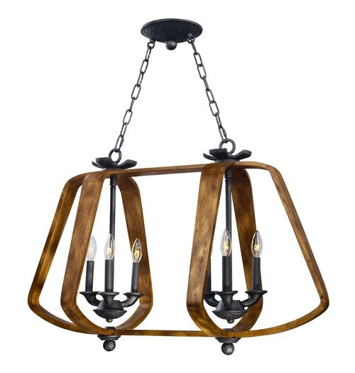 """Road House 36"""" Wide 6 Light Linear Pendant using E12 Candelabra Incandescent Bulbs in Barn Wood / Iron Ore"""