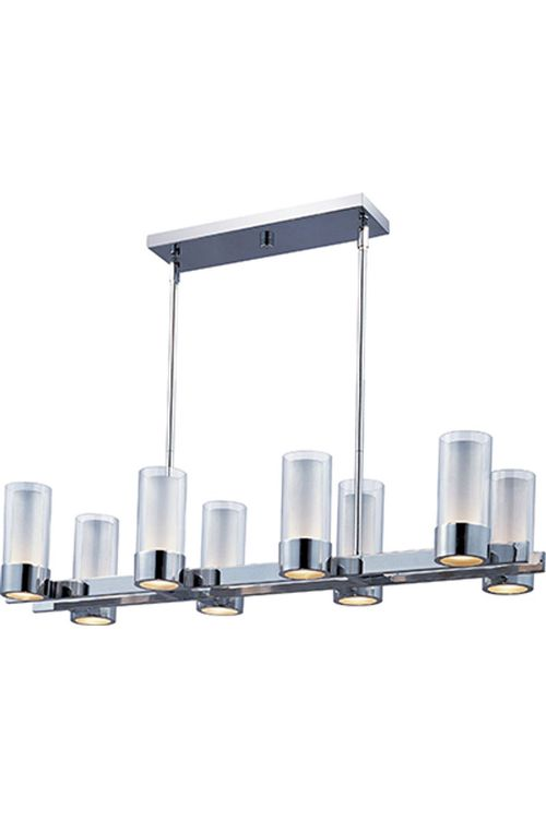 """Silo 11"""" Wide 8 Light Linear Pendant using G9 Xenon Bulbs in Polished Chrome"""