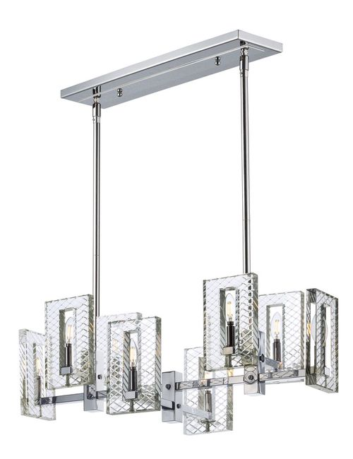 """Suave 34.5"""" Wide 8 Light Linear Pendant using E12 Candelabra Incandescent Bulbs in Polished Nickel"""