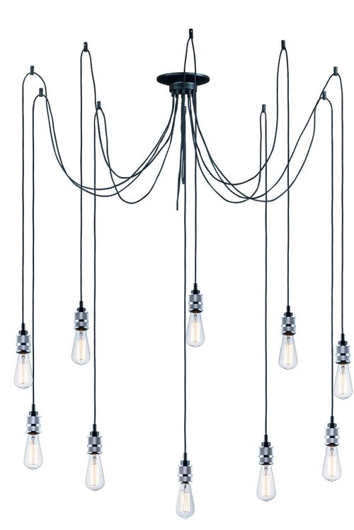 """Swagger 41.5"""" Wide 10 Light Suspension Pendant using E26 Medium Incandescent Bulbs in Polished Chrome"""