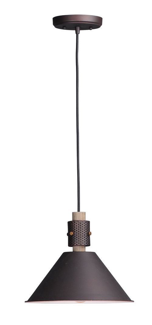 """Tucson 11.25"""" Wide 1 Light Single Pendant using E26 Medium Incandescent Bulbs in Oil Rubbed Bronze / Weathered Wood"""