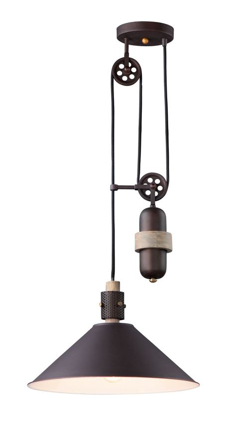 """Tucson 16"""" Wide 1 Light Single Pendant using E26 Medium Incandescent Bulbs in Oil Rubbed Bronze / Weathered Wood"""