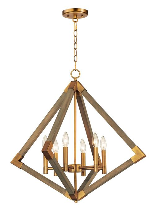 """Vector 28"""" Wide 6 Light System using E12 Candelabra Incandescent Bulbs in Weathered Oak / Antique Brass"""