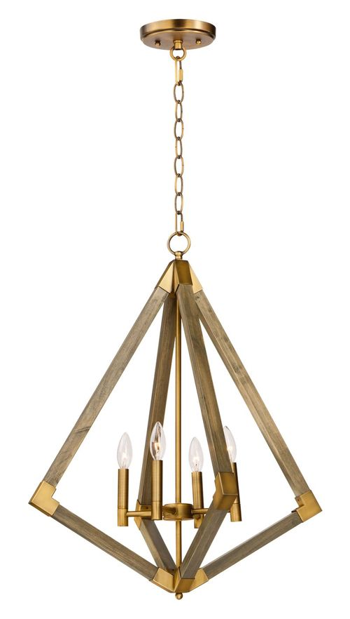 """Vector 29.25"""" Entry Foyer Chandelier with 4 Lights - Weathered Oak / Antique Brass"""