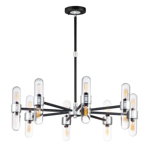 """Dual 11.75"""" 16 light Chandelier in Black and Brushed Aluminum"""