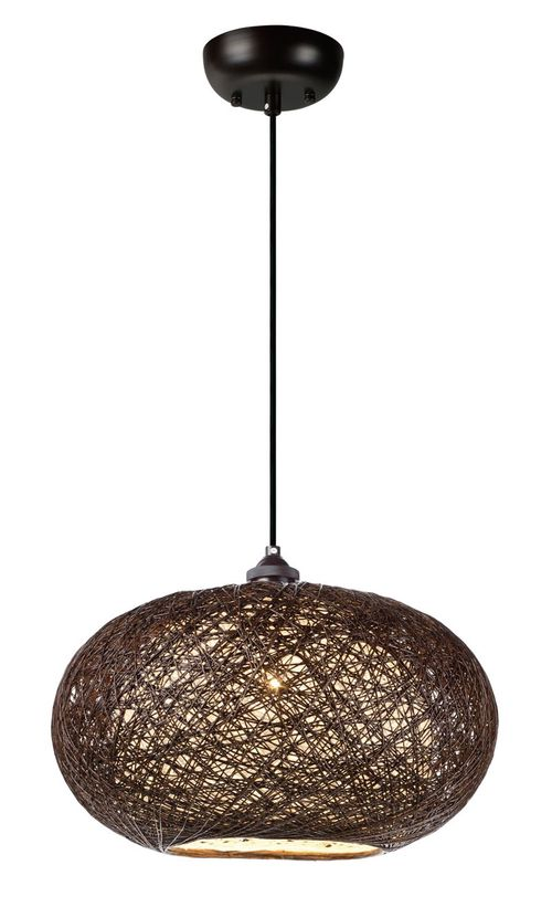 "Bali 15.75"" 1-Light Single Pendant - Chocolate"