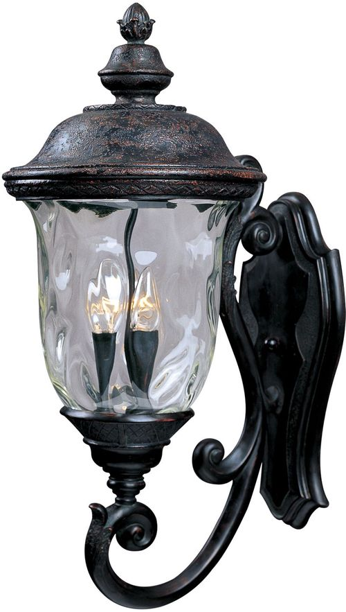 """Carriage House DC 12.5"""" 3 Light Outdoor Wall Mount Light in Oriental Bronze with 6.5"""" Backplate"""
