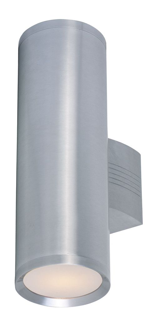 """Lightray 5"""" 2 Light Outdoor Wall Sconce in Brushed Aluminum"""