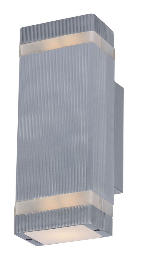 """Lightray 9.5"""" 2 Light Outdoor Wall Sconce in Brushed Aluminum"""