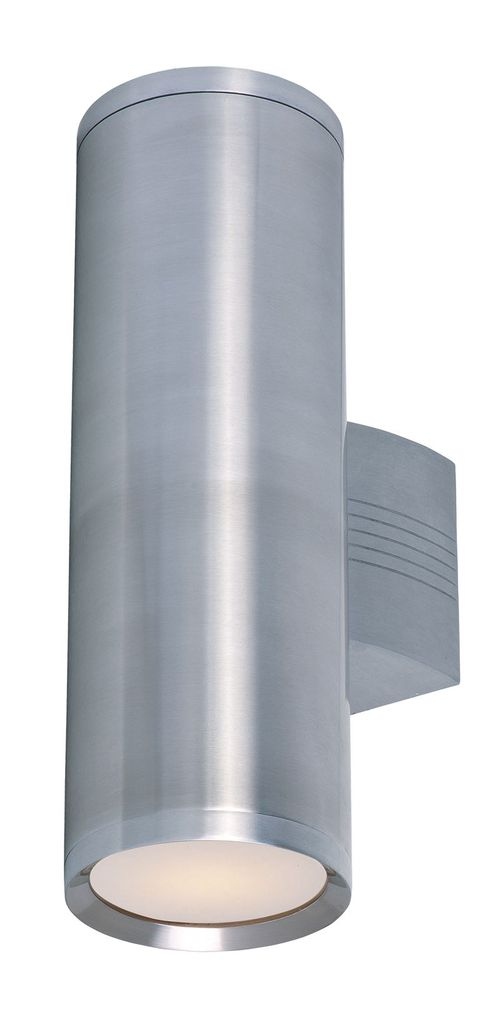 """Lightray 5"""" 2-Light Outdoor Wall Mount - Brushed Aluminum"""
