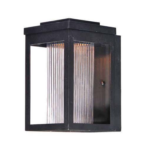 """Salon 6"""" x 10"""" Single Light Outdoor Wall Mount Light in Black with Clear Ribbed Glass Finish"""