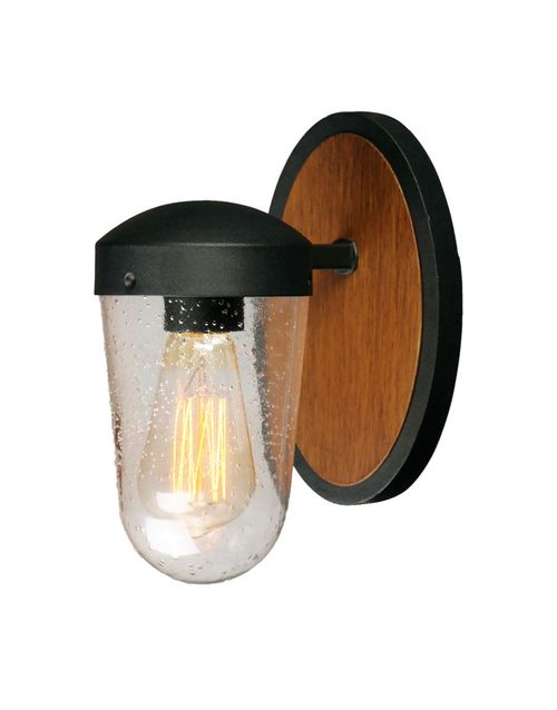 Lido Single Light Wall Sconce in Antique Pecan and Black