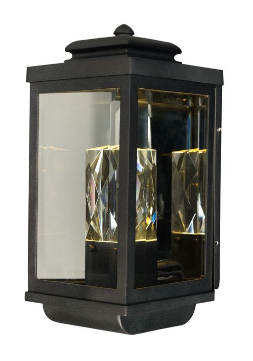 """Mandeville 7"""" 2 Light Outdoor Wall Sconce in Galaxy Black"""