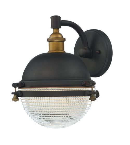 Portside Single Light Wall Sconce in Antique Brass and Oil Rubbed Bronze