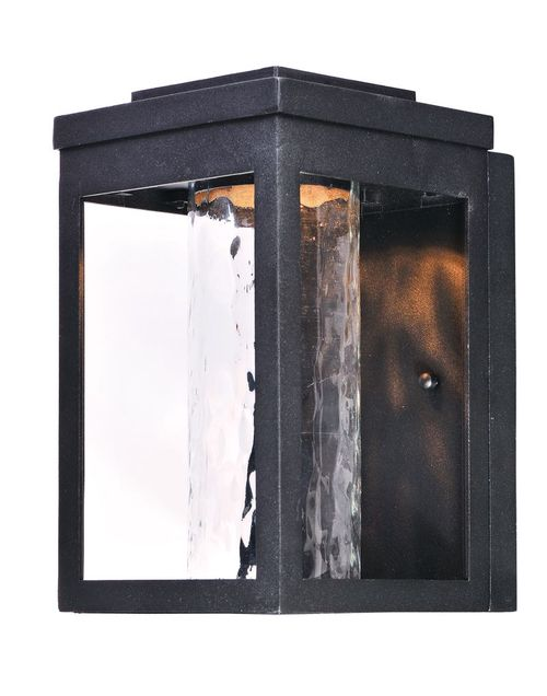 """Salon 6"""" x 10"""" Single Light Outdoor Wall Sconce in Black with Water Glass Finish"""