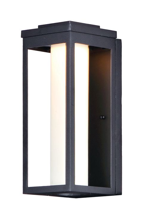 """Salon 6"""" x 15"""" Single Light Outdoor Wall Sconce in Black with Satin White Glass Finish"""