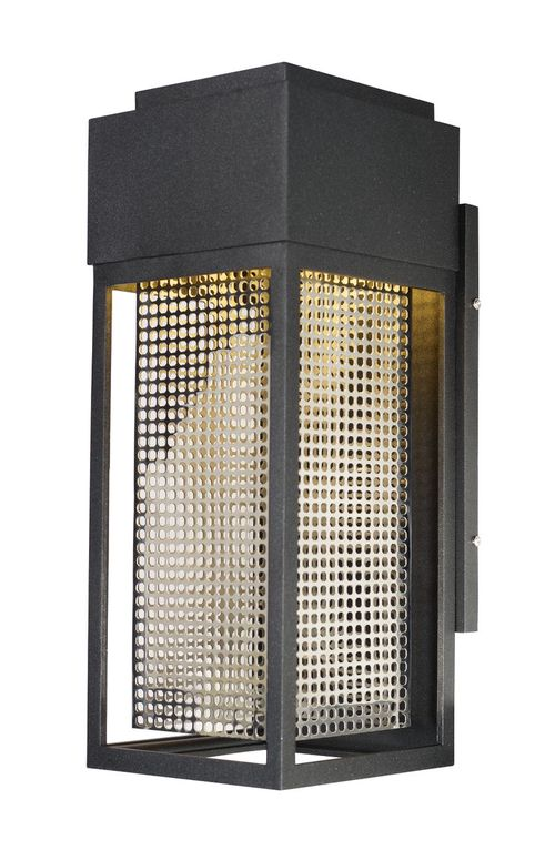 """Townhouse 7"""" Single Light Outdoor Wall Sconce in Galaxy Black and Stainless Steel"""