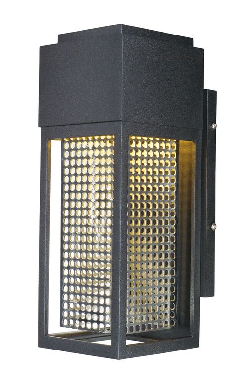 """Townhouse 4.75"""" Single Light Outdoor Wall Sconce in Galaxy Black and Stainless Steel"""