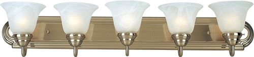 """Essentials - 801x 36"""" 5 Light Vanity Lighting in Satin Nickel with Marble Glass Finish"""
