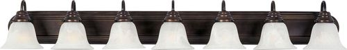"""Essentials - 801x 48"""" 7 Light Vanity Lighting in Oil Rubbed Bronze with Marble Glass Finish"""