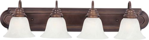 """Essentials - 801x 30"""" 4 Light Vanity Lighting in Oil Rubbed Bronze with Marble Glass Finish"""