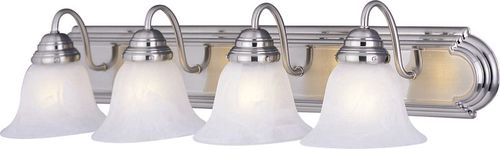"""Essentials - 801x 30"""" 4 Light Vanity Lighting in Satin Nickel with Marble Glass Finish"""