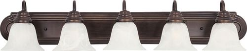 """Essentials - 801x 36"""" 5 Light Vanity Lighting in Oil Rubbed Bronze with Marble Glass Finish"""
