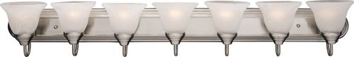 """Essentials - 801x 48"""" 7 Light Vanity Lighting in Satin Nickel with Marble Glass Finish"""