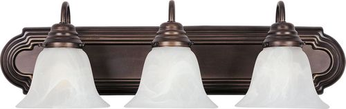 """Essentials - 801x 24"""" 3 Light Vanity Lighting in Oil Rubbed Bronze with Marble Glass Finish"""