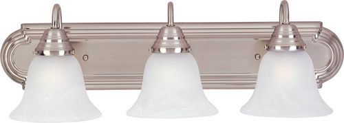 """Essentials - 801x 24"""" 3 Light Vanity Lighting in Satin Nickel with Marble Glass Finish"""