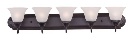 """Essentials - 801x 36"""" 5 Light Vanity Lighting in Oil Rubbed Bronze with Frosted Glass Finish"""