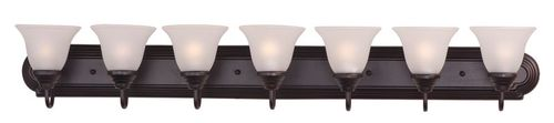 """Essentials - 801x 48"""" 7 Light Vanity Lighting in Oil Rubbed Bronze with Frosted Glass Finish"""
