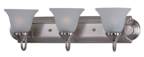 """Essentials - 801x 24"""" 3 Light Vanity Lighting in Satin Nickel with Frosted Glass Finish"""