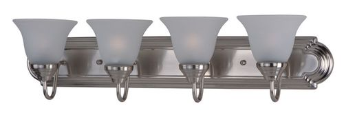 """Essentials - 801x 30"""" 4 Light Vanity Lighting in Satin Nickel with Frosted Glass Finish"""