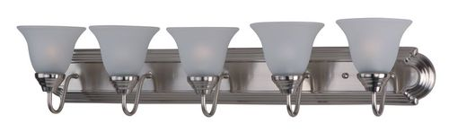 """Essentials - 801x 36"""" 5 Light Vanity Lighting in Satin Nickel with Frosted Glass Finish"""