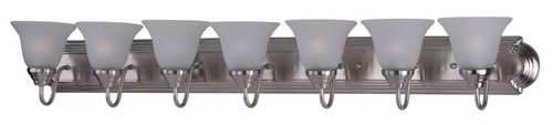 """Essentials - 801x 48"""" 7 Light Vanity Lighting in Satin Nickel with Frosted Glass Finish"""