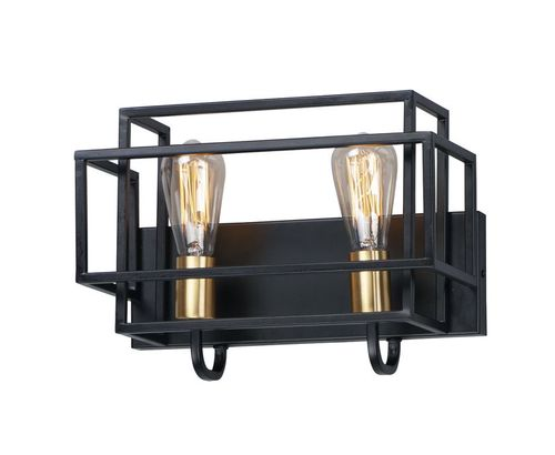 """Liner 14.25"""" 2 Light Wall Sconce in Black and Satin Brass"""