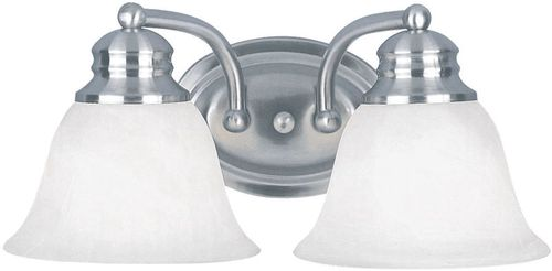 """Malaga 13.25"""" 2 Light Vanity Lighting Wall Sconce in Satin Nickel with Frosted Glass Finish"""