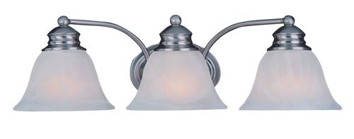 """Malaga 19.5"""" 3 Light Vanity Lighting in Satin Nickel with Frosted Glass Finish"""