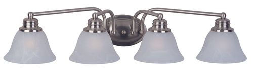 """Malaga 29"""" 4 Light Vanity Lighting in Satin Nickel with Frosted Glass Finish"""