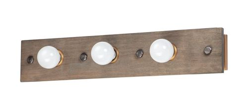 """Plank 30.25"""" 3 Light Vanity Lighting in Weathered Wood and Antique Brass"""