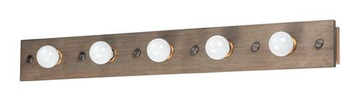 """Plank 48"""" 5 Light Vanity Lighting in Weathered Wood and Antique Brass"""