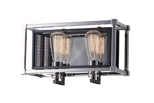 """Refine 14.25"""" 2 Light Wall Sconce in Black and Polished Nickel"""